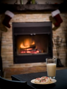 Milk and Cookies waiting by the fireplace for Santa. Substitute eggnog for a seasonal touch Milk and cookies- a classic. Try substituting eggnog for a seasonal touch.