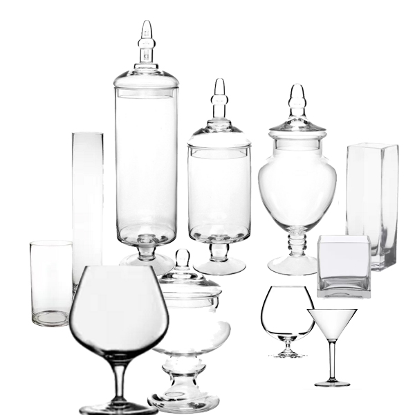Glassware to decorate fireplace Christmas mantel.