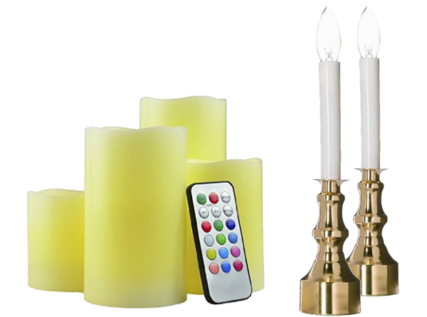 Flameless battery and plug in candles for fireplace mantel decorations