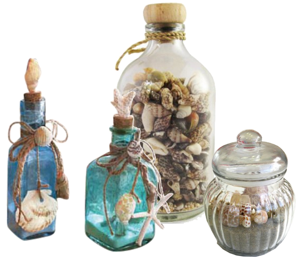 Fill apothecary jars and other glass containers with shells and or sand.