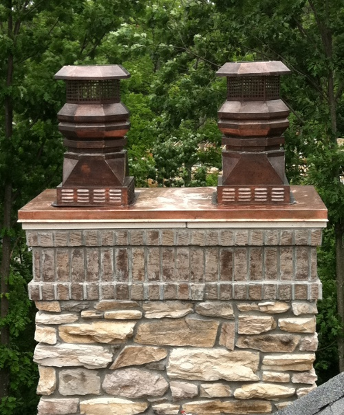 Copper Tudor Chimney Pots with lourved base
