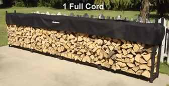 One cord of firewood is 4 feet tall, 2 feet wide, and 16 feet long.