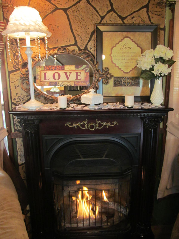 romantic fireplace decorated for Valentine's Day