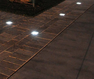 Use LED solar pavers to make fire pit safety zone