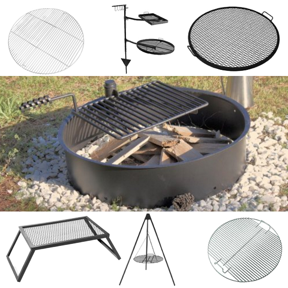 camping with fire pits and grills