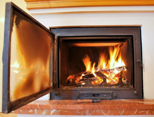 Clean Glass Fireplace Doors with Ash