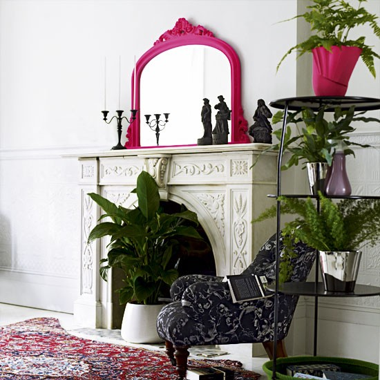 fireplace decorated with plants