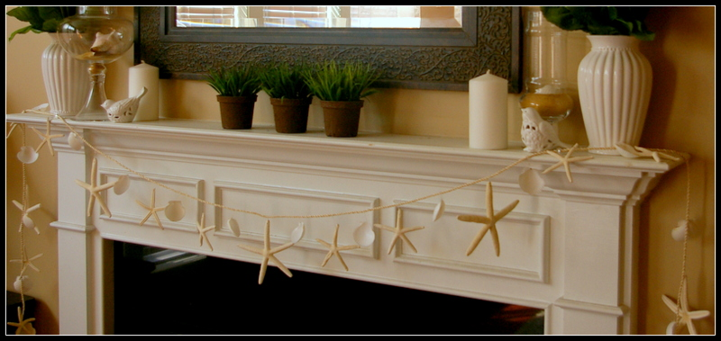 Summer Fireplace with Seashell Garland
