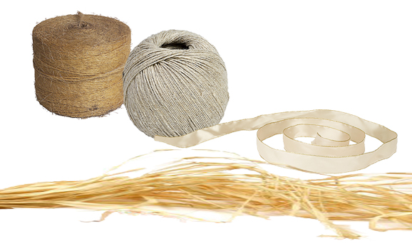 Twine, string, ribbon, raffia to tie shells to rope