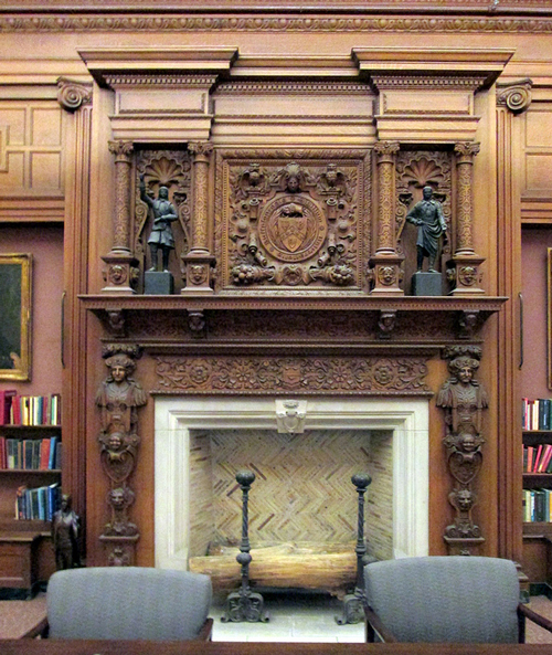 University of Buffalo's majestic fireplace place in the Austin Flint Main Reading Room of the Health Sciences Library