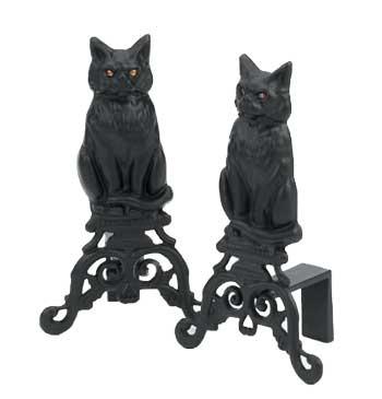 Black Cat Andirons