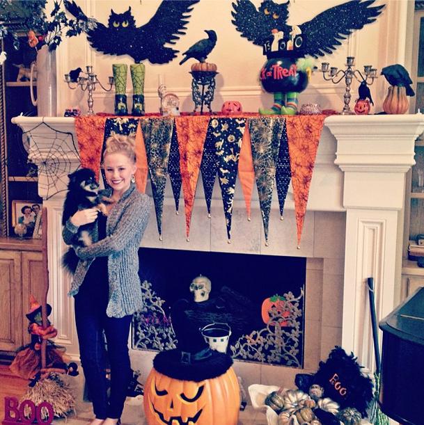 BOOOO-tiful Halloween fireplace has it all!