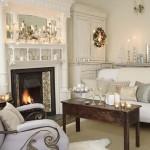 Glow of snow fireplace mantel
