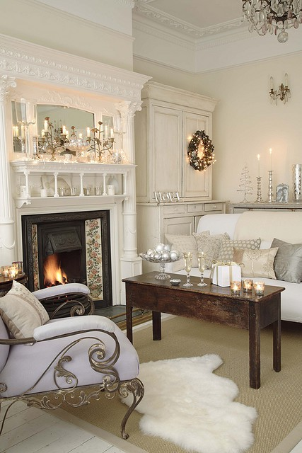 Decorate White Christmas Fireplace Mantels