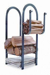 Spruce up a fireplace for Christmas with a log rack with places for newspaper and kindling.