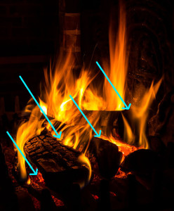 How to Start a Fire in Fireplace: Let the fire breathe with spaces between the logs