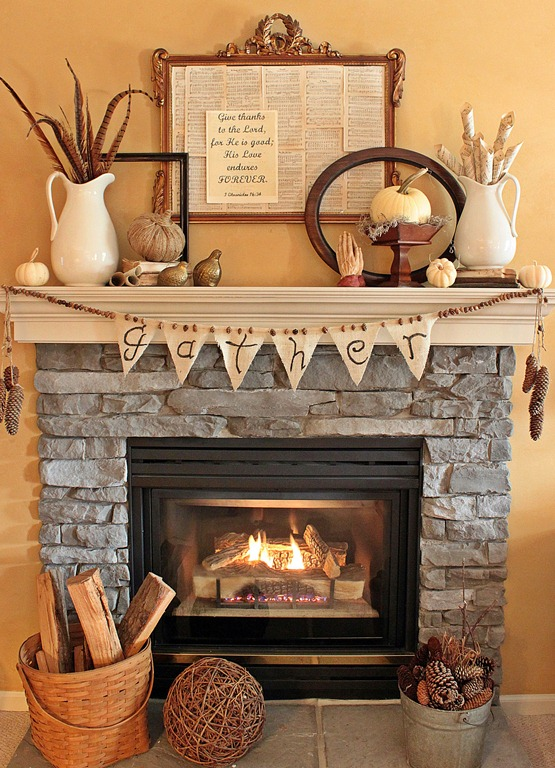 Whether feathers, pinecones, or wood, nature's subtle tones set the color scheme for this Thanksgiving fireplace.