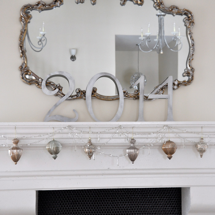 Use a mantel mirror as part of your mantel decorations for New Years.