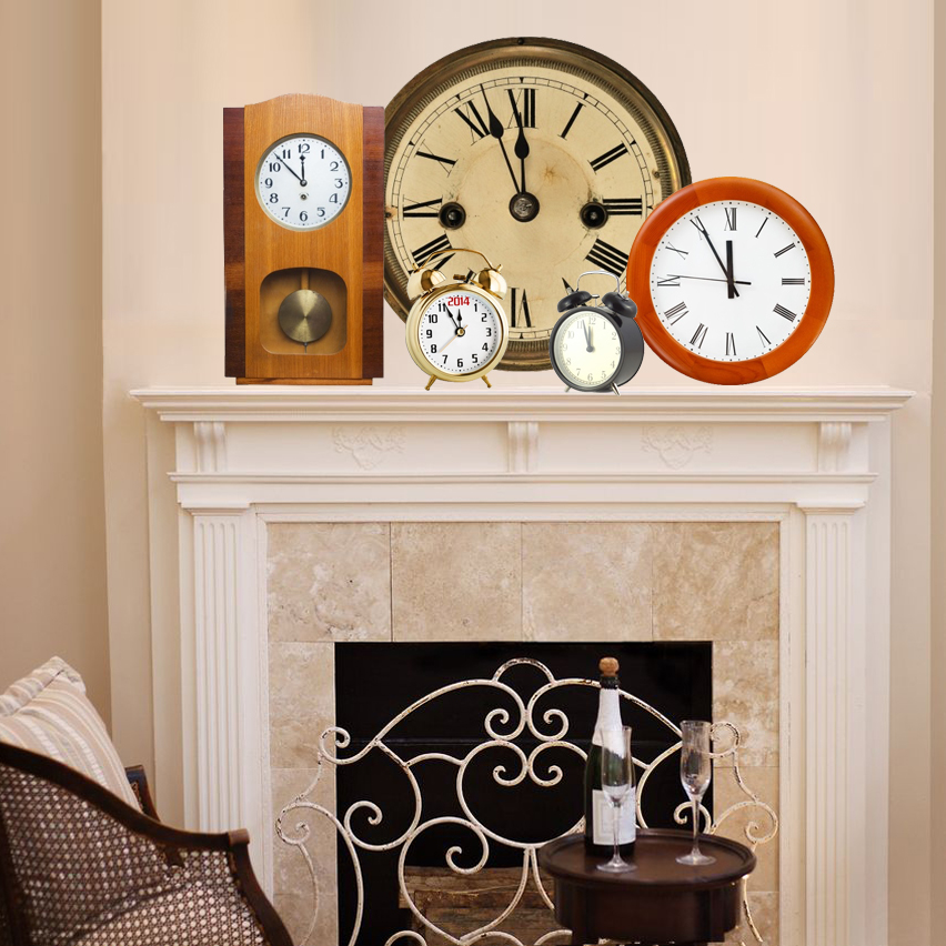 Decorate the fireplace mantel with clocks for New Years