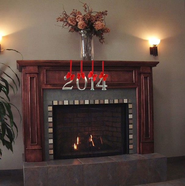Hang numerals as mantel decorations for new years.