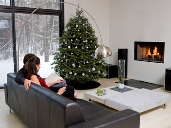 Keep 3 feet between the Christmas tree and the fireplace.