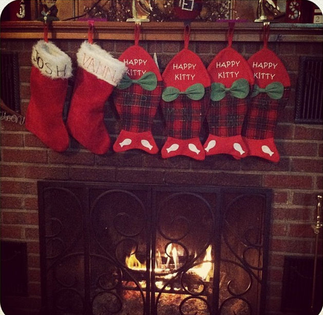 Plaid, fish-shaped stockings join the ones for the humans on this cheery holiday hearth.