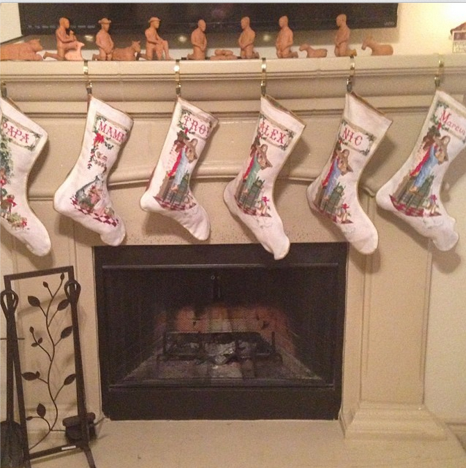 The cross-stitched stockings were finished just in time.