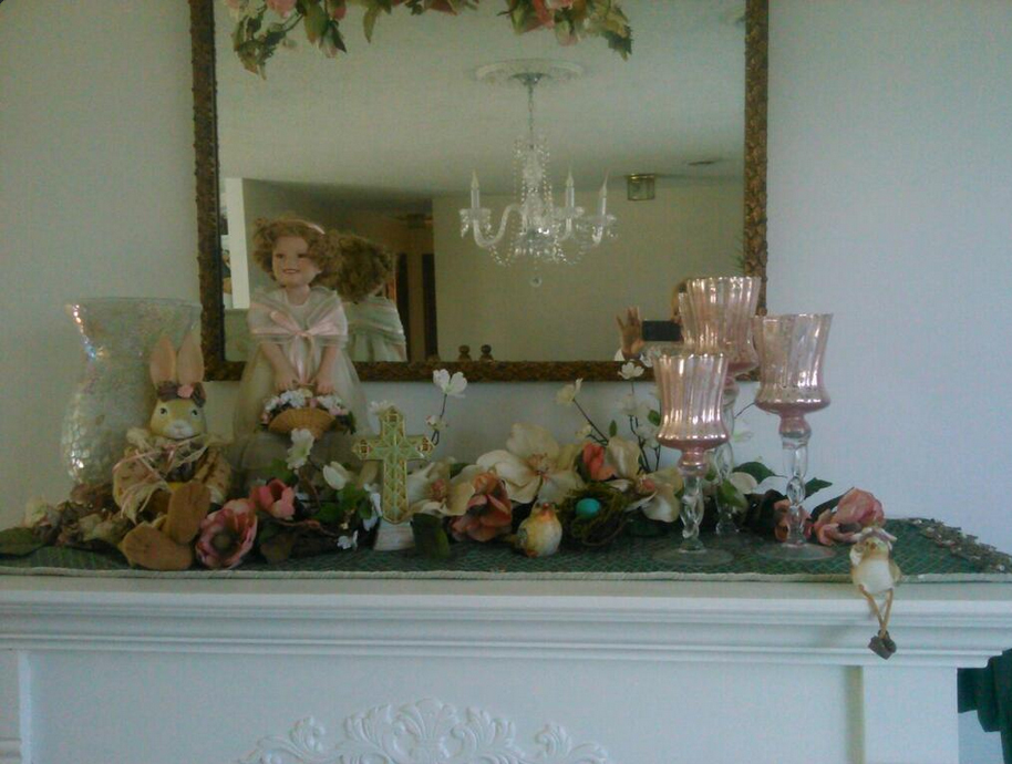 Pink and Green Easter Mantel Decorations