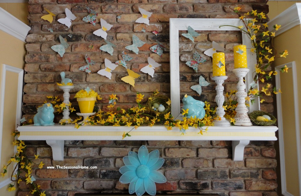 Butterfly Easter mantel decorations