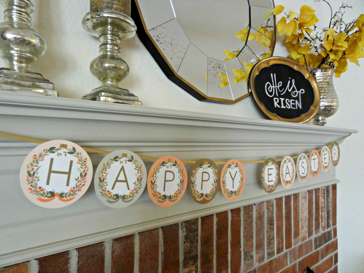 Easter Mantel Decorations With Happy Easter Garland