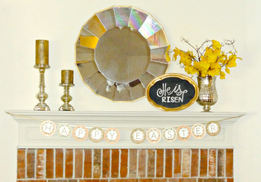 Wider view of Easter mantel decorations