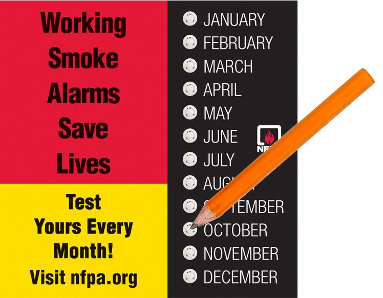National Fire Prevention Week Monthly Smoke Alarm Test Calendar