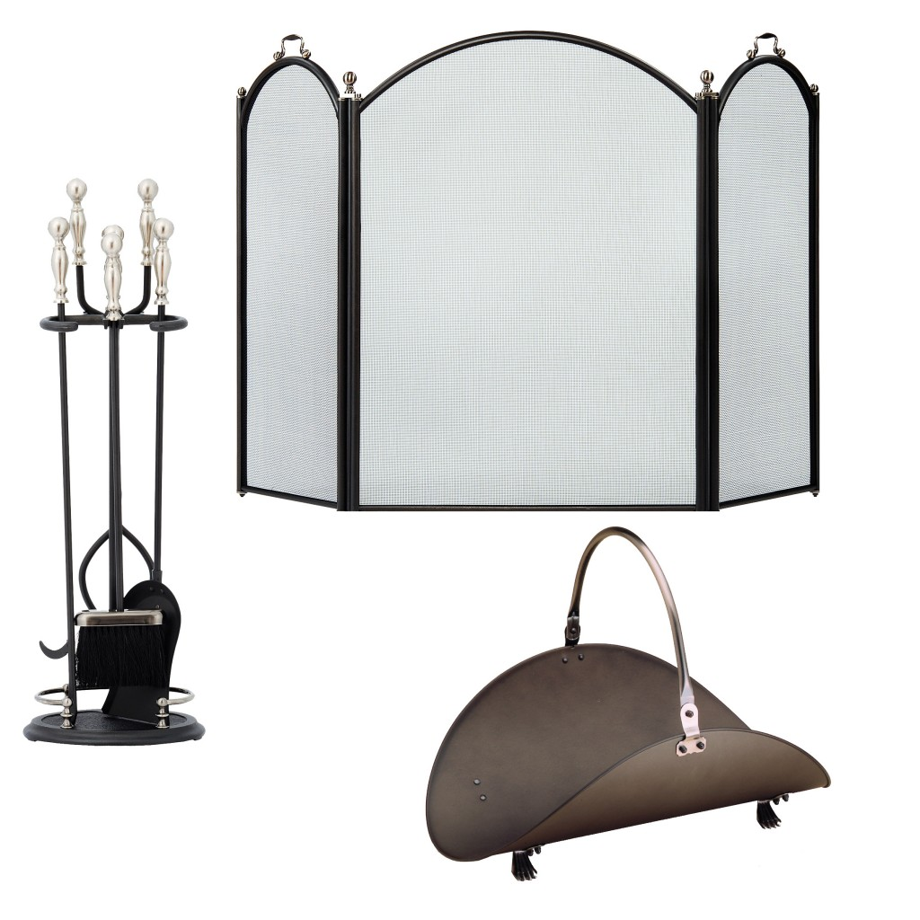 3 piece graphite and pewter fireplace set