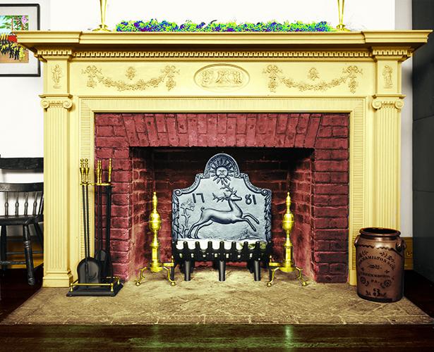 Fireback in fireplace