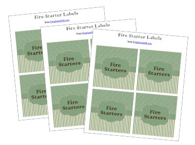 Labels for Wine Cork Fire Starter Jars