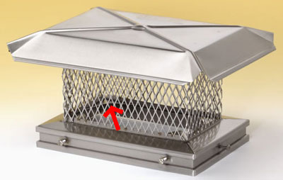 The interior of each oval flue chimney cap has corner tabs to accommodate oval flues.