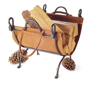 log carrier with metal rack