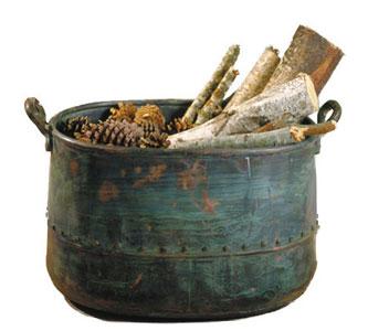 aged copper log holder