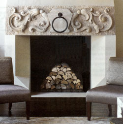 Decorate fireplace with logs stacked in a pyrimid