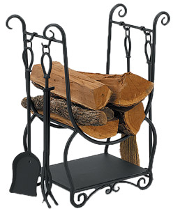 Hearth Center - Log holder with tool set