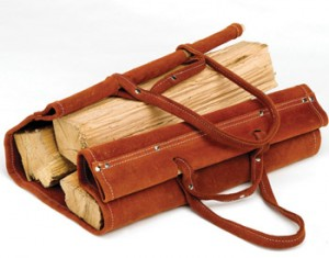 leather firewood log carrier