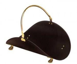 Black and brass log basket