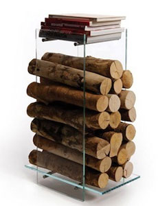 glass and stainless steel log holder