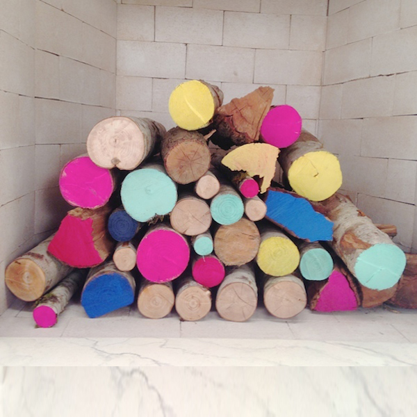 Decorate Fireplace with Logs - add color