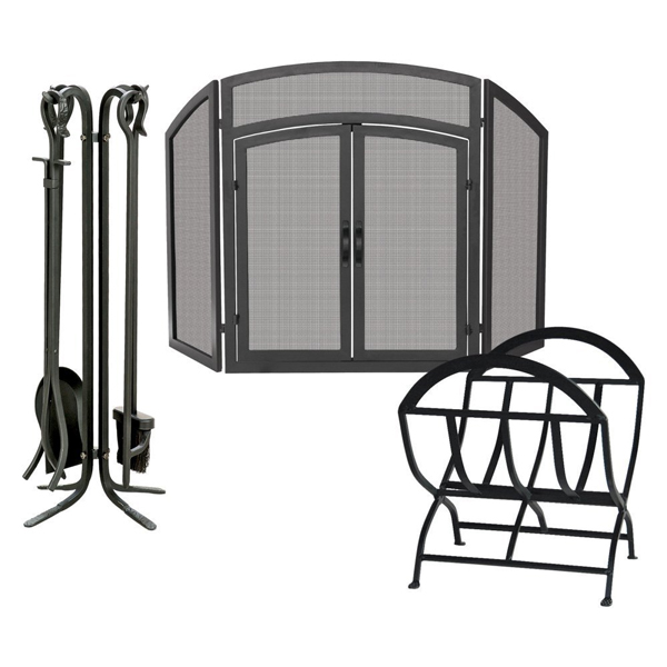 Uniflame Wrought Iron Fireplace Set