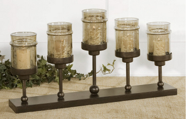 Use the Lamya Fireplace Candelabra as a dining table candelabra.