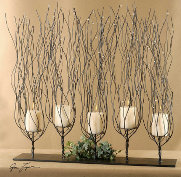The Arboretum Fireplace Candelabra works well as a dining table candelabra.