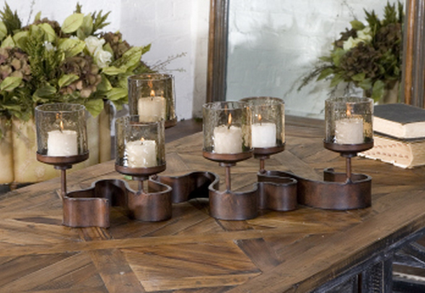 Use the Ribbon Fireplace Candelabra as a dining table candelabra.