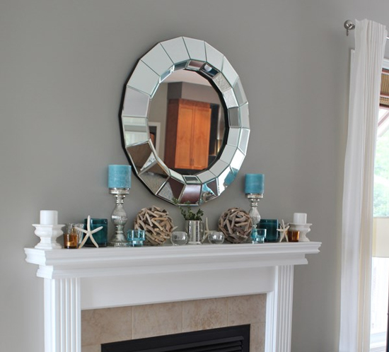 candles on beachy mantel