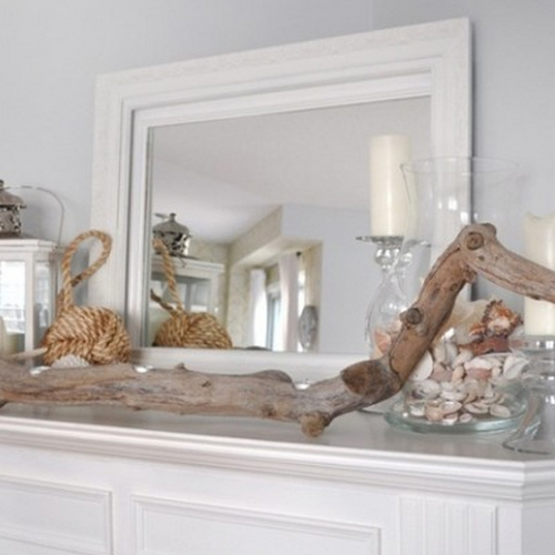 driftwood on fireplace mantel